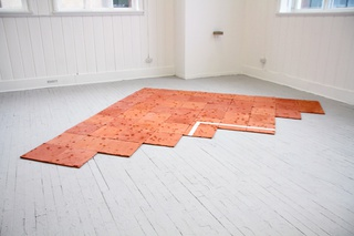 ___'Court'___, 52 fired terracotta tiles with ball impact crater marks and white glaze, 2014